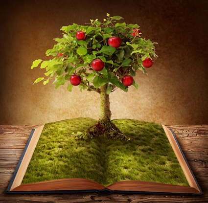 Apple Tree Growing from Book