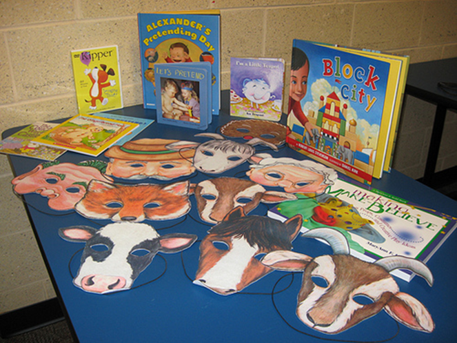 Children's books on library table